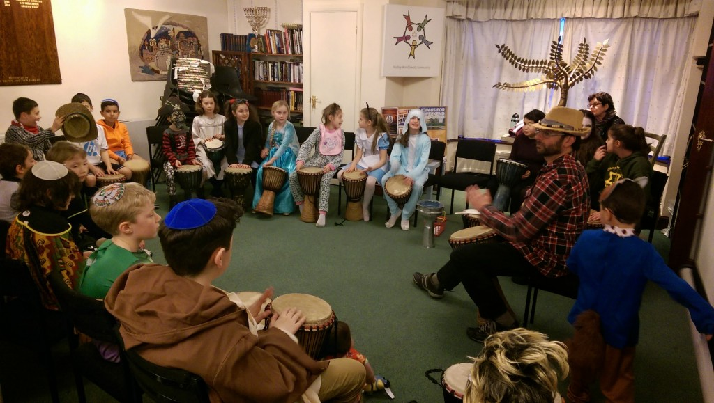 4th March 2015: Purim Celebrations included a children's drumming workshop @ Hadley Wood Jewish Community