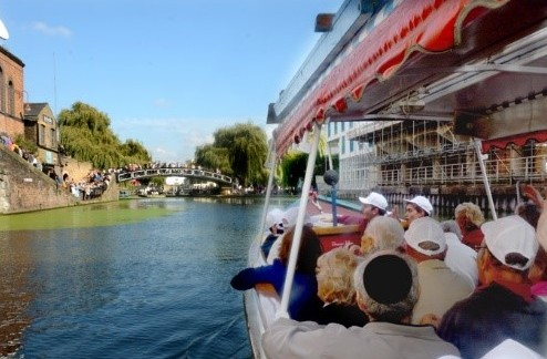 Day-trippers enjoy a leisurely trip down the canal which encompassed an informative session  on Tashlich