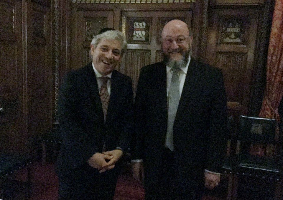 The Speaker John Bercow welcomes the Chief Rabbi to his stately rooms