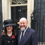 The Chief Rabbi and Valerie Mirvis on their way to the Cenotaph