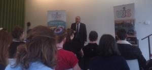 Students listen to the Chief Rabbi as he explores the qualities of what makes a good leader