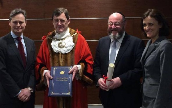 The Chief Rabbi was honoured to receive Barnet Borough Council's highest accolade