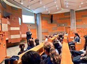 The Chief Rabbi addresses students of Gindi Maimonides Academy in Beverley Hills