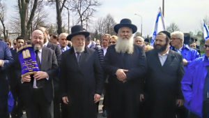 Chief Rabbi Mirvis taking part in the March of the Living