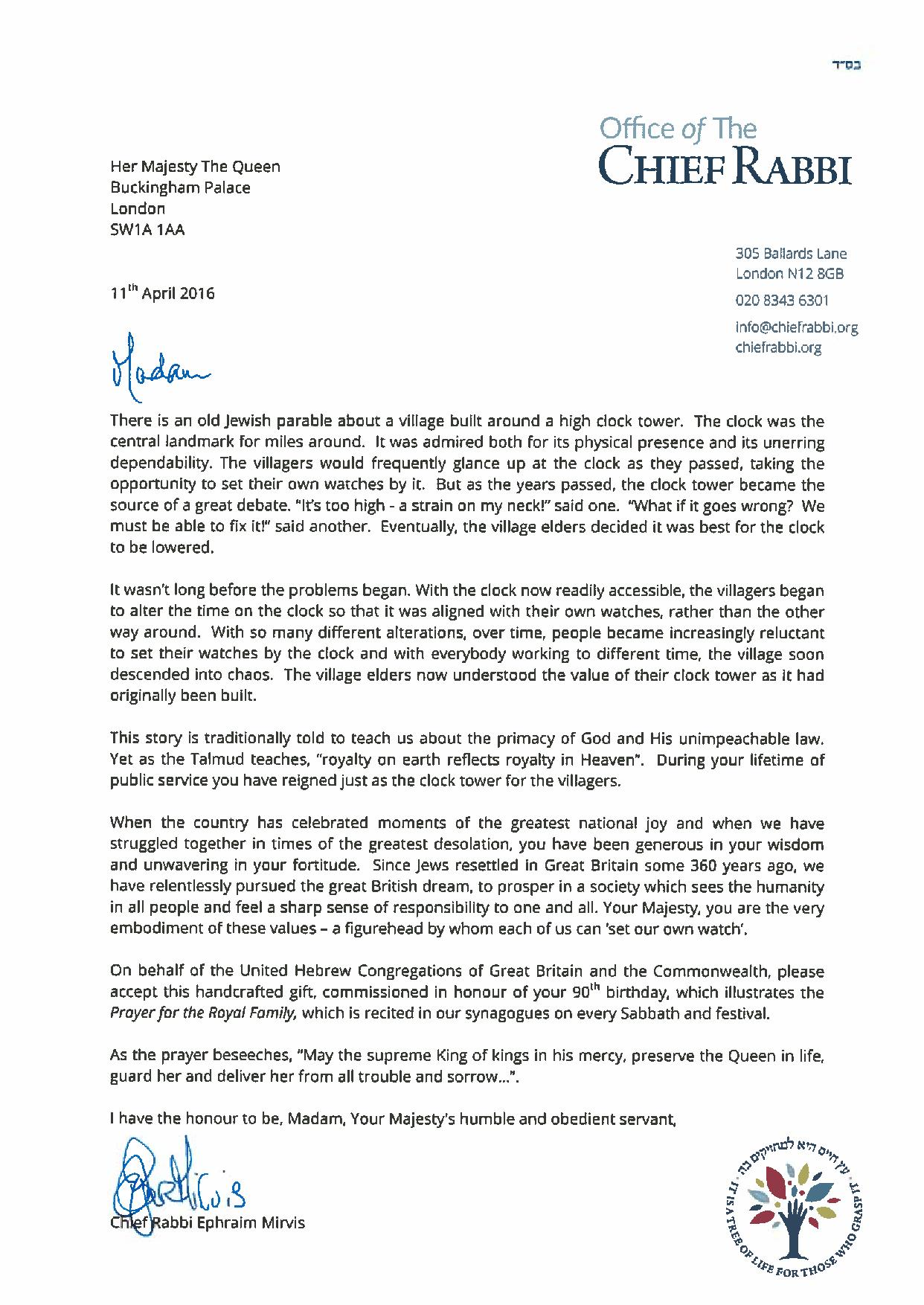 The Chief Rabbi S Letter To The Queen Office Of The